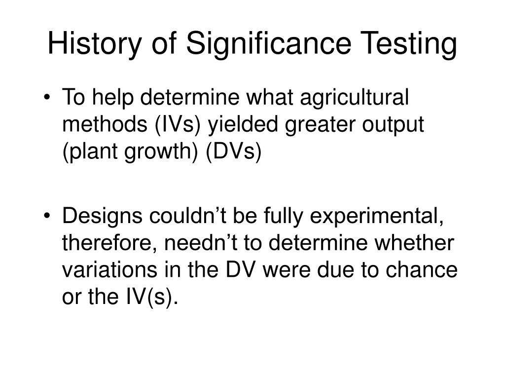 History of Significance Testing