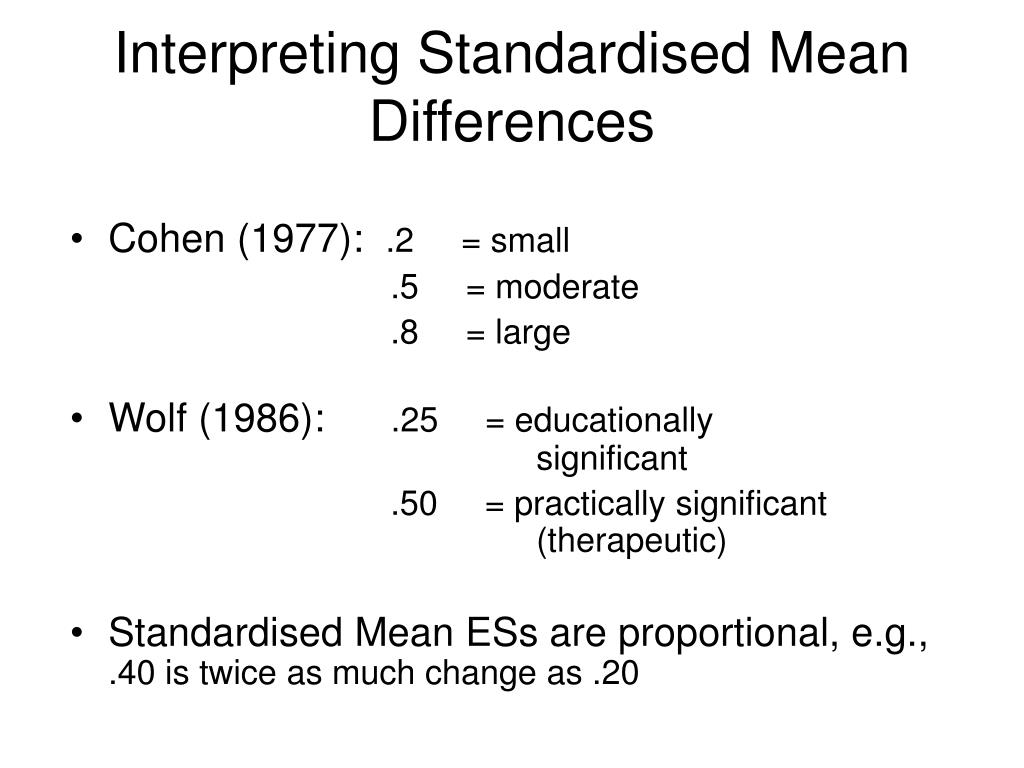 Interpreting Standardised Mean Differences
