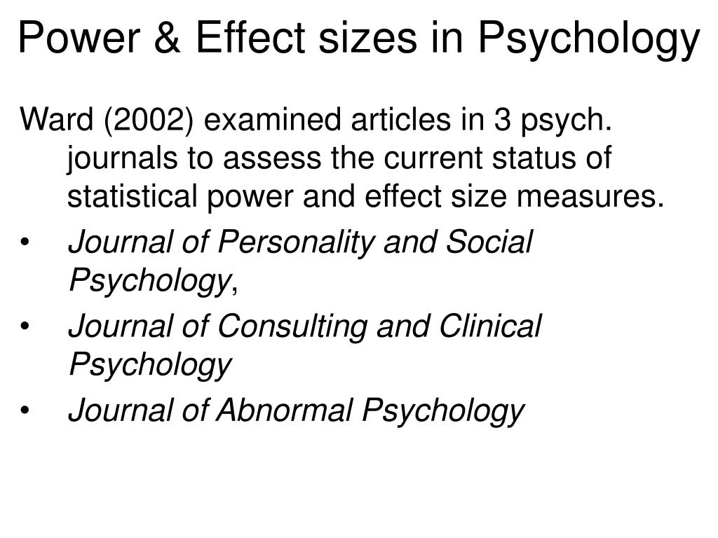 Power & Effect sizes in Psychology