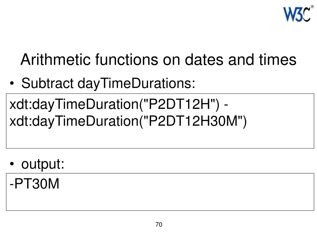 Arithmetic functions on dates and times