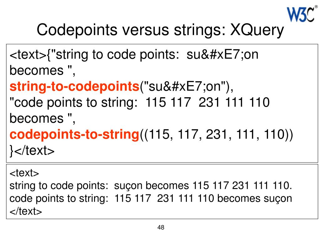 Codepoints versus strings: XQuery