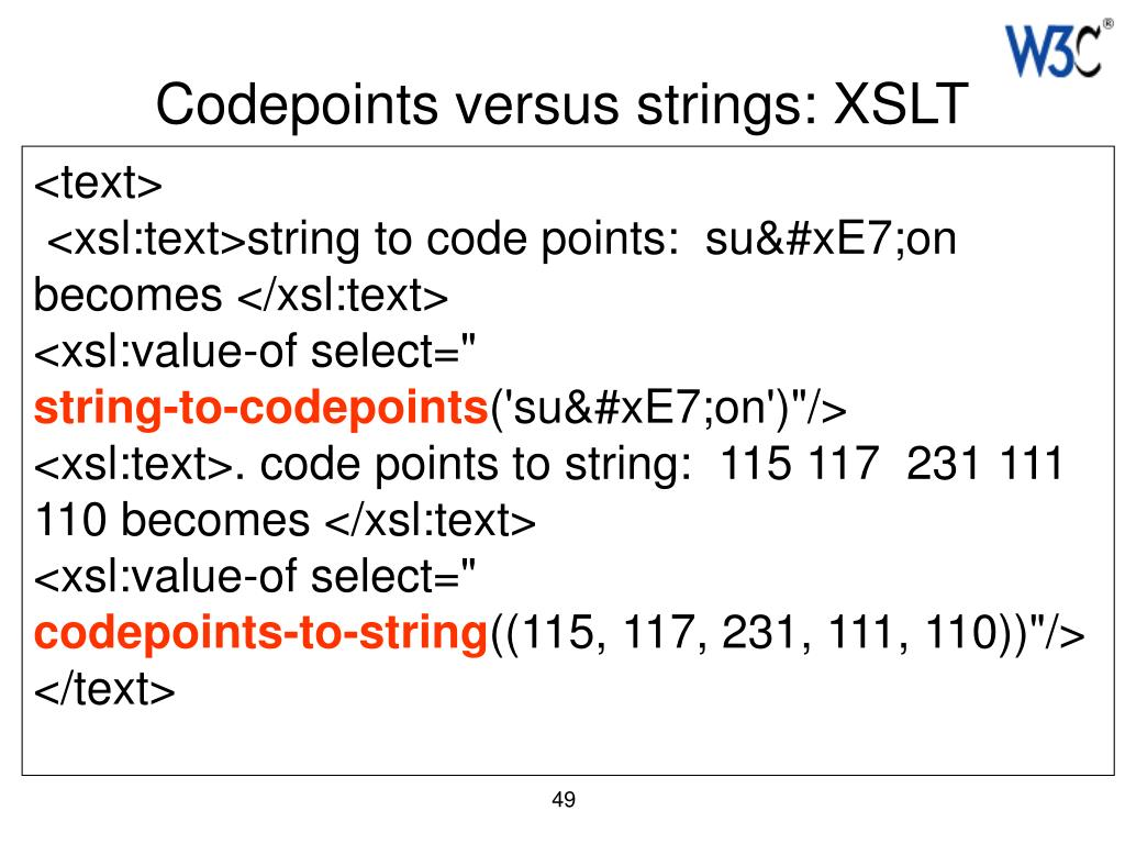 Codepoints versus strings: XSLT