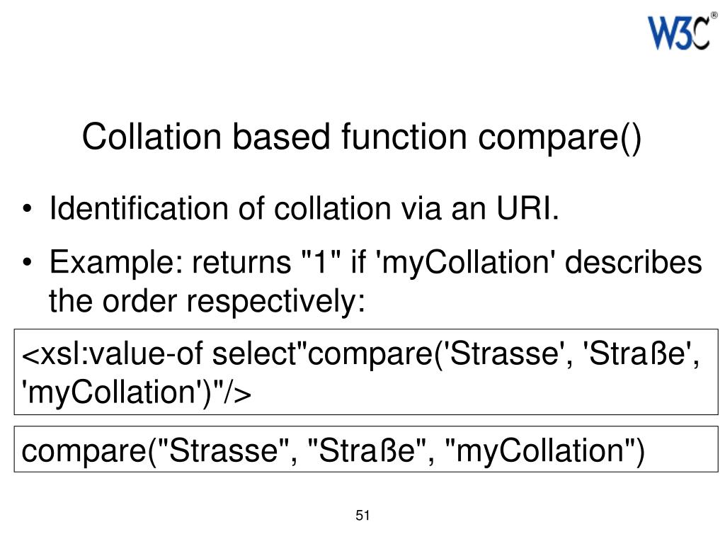 Collation based function compare()