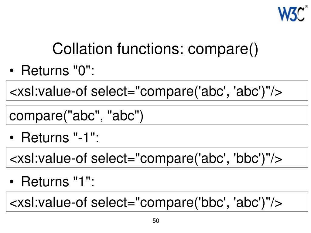 Collation functions: compare()
