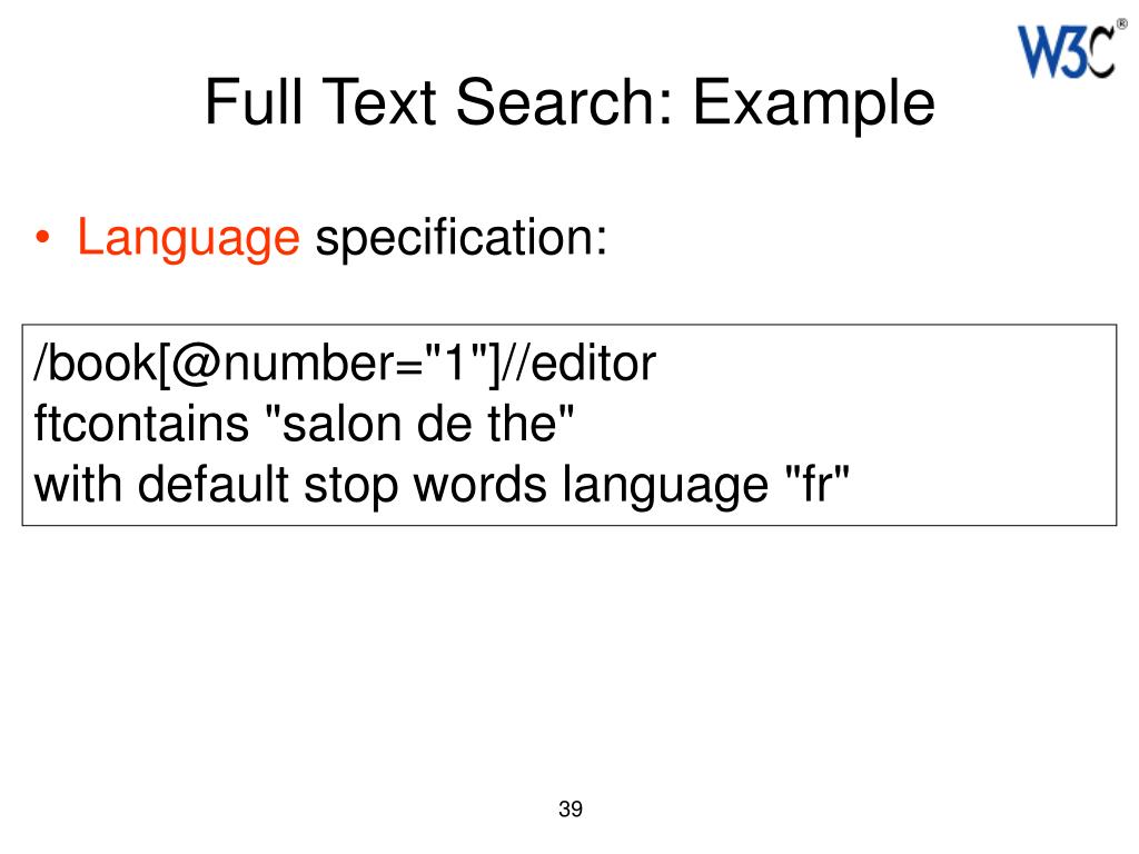 Full Text Search: Example