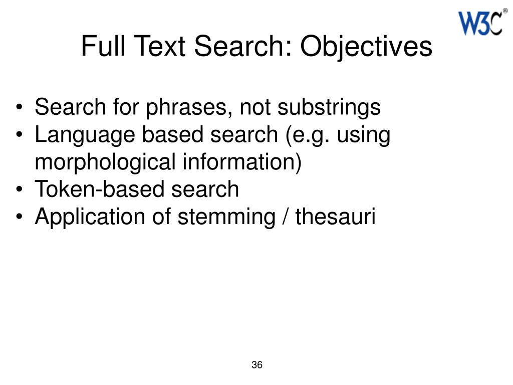 Full Text Search: Objectives