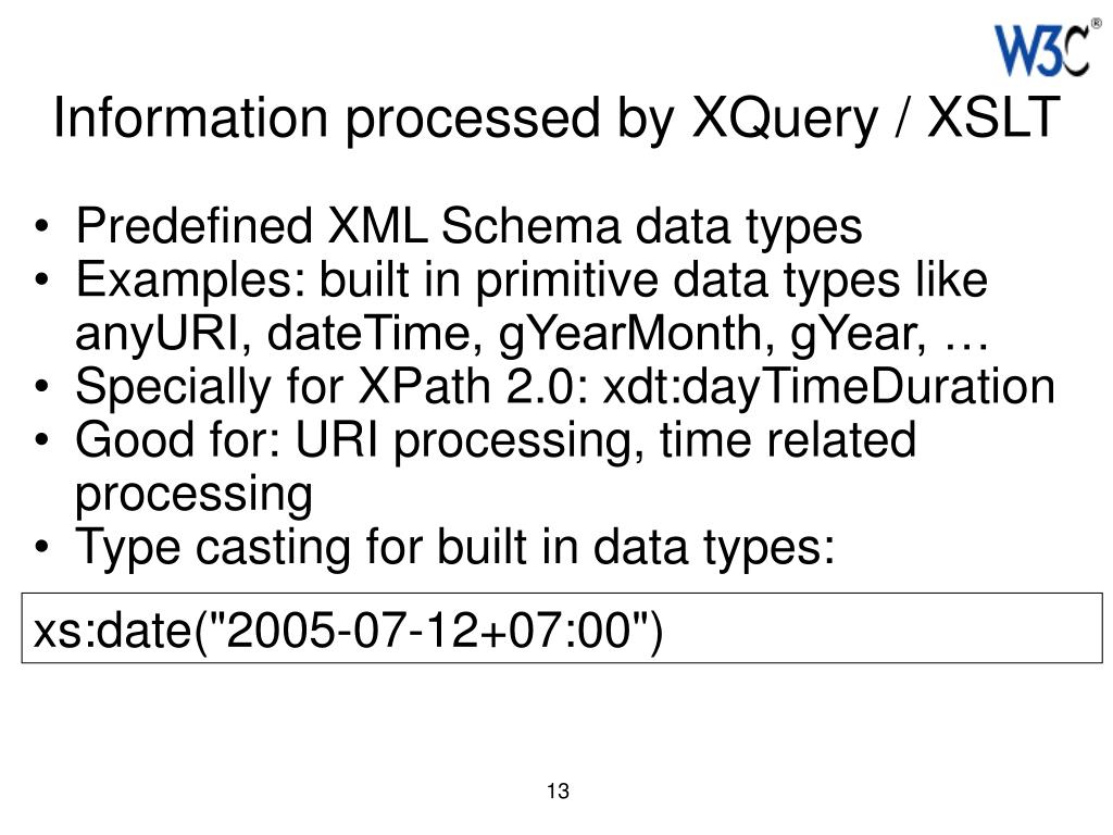 Information processed by XQuery / XSLT