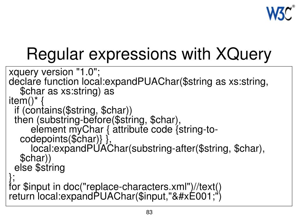 Regular expressions with XQuery