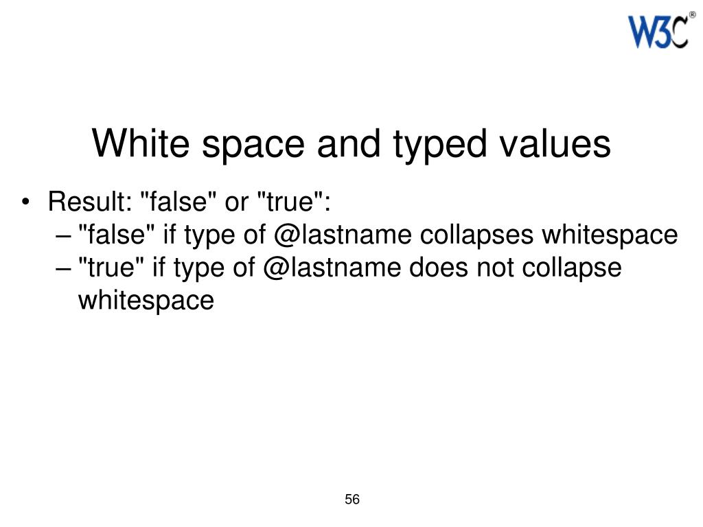 White space and typed values