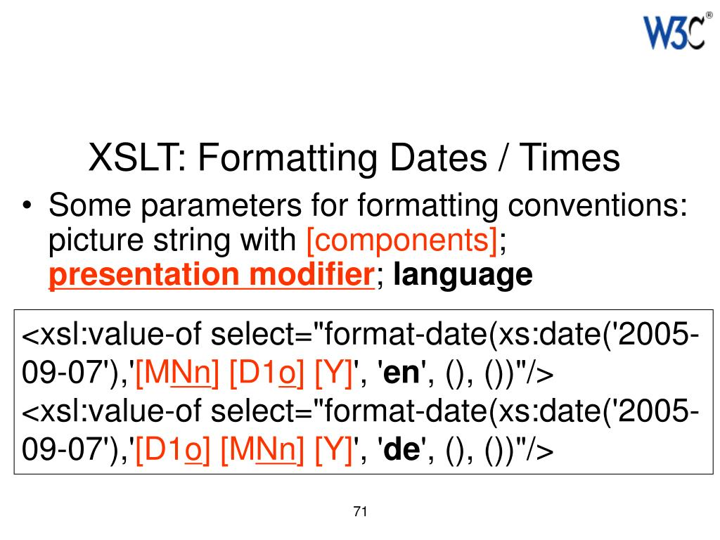XSLT: Formatting Dates / Times