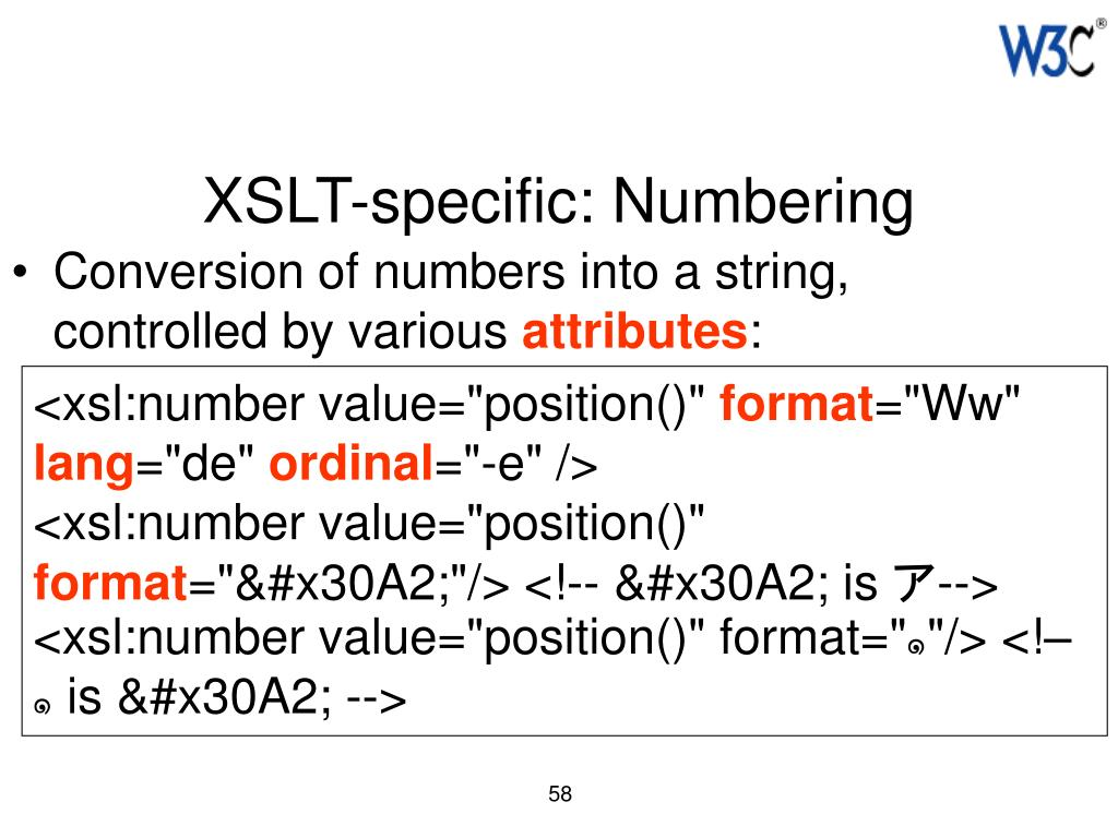 XSLT-specific: Numbering