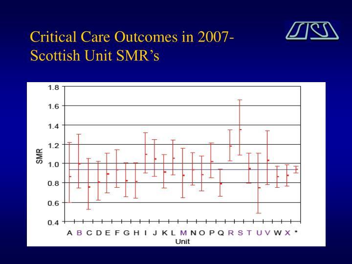 Critical care outcomes in 2007 scottish unit smr s