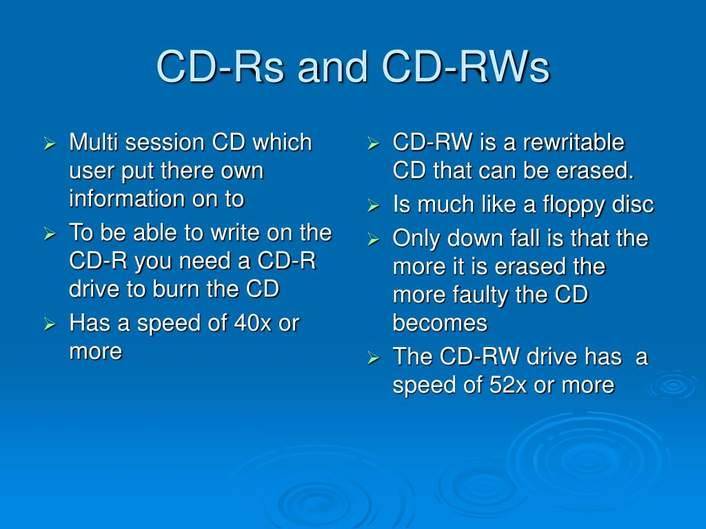 Multi session CD which user put there own information on to