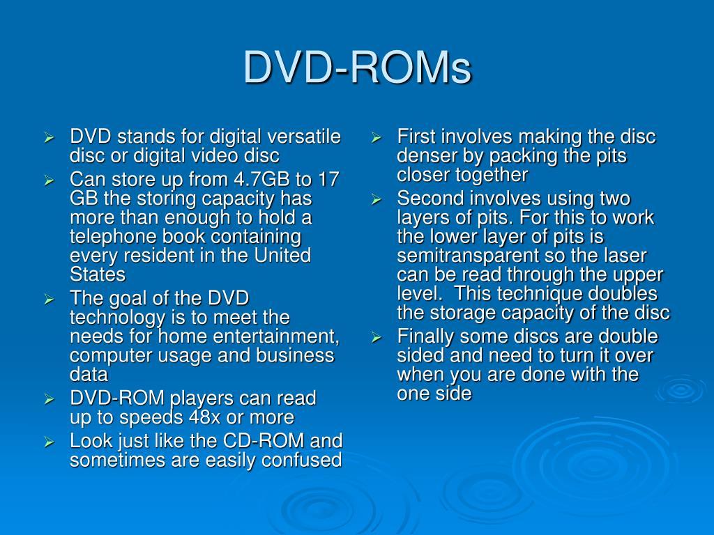 DVD stands for digital versatile disc or digital video disc