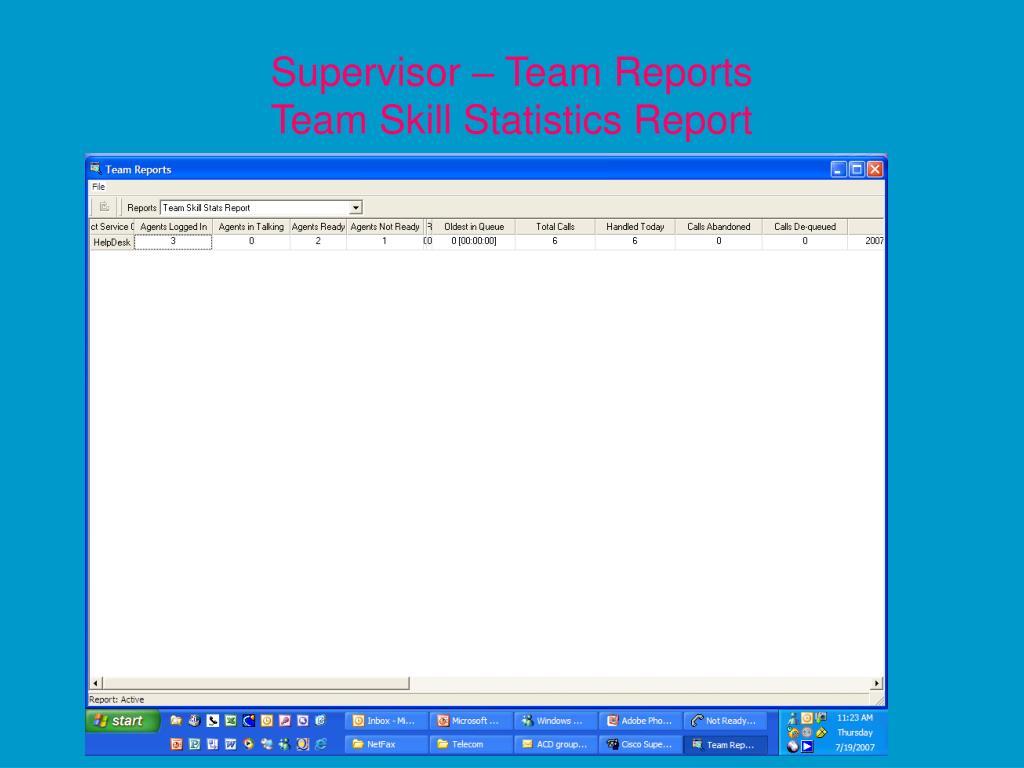 Supervisor – Team Reports