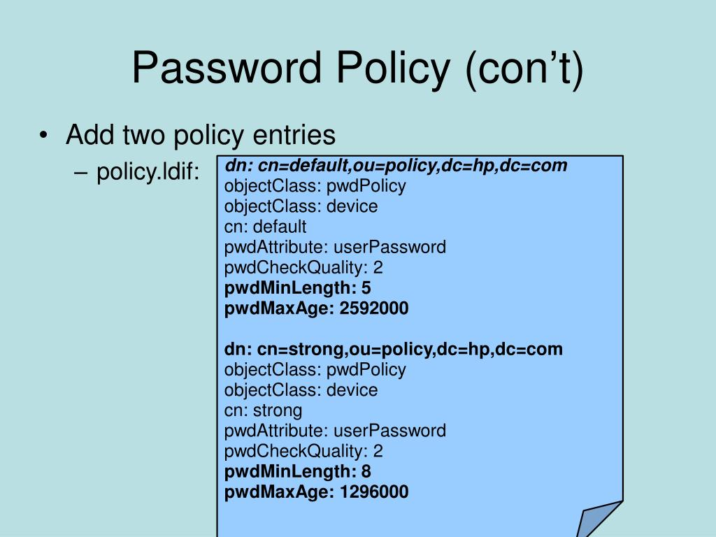 Password Policy (con