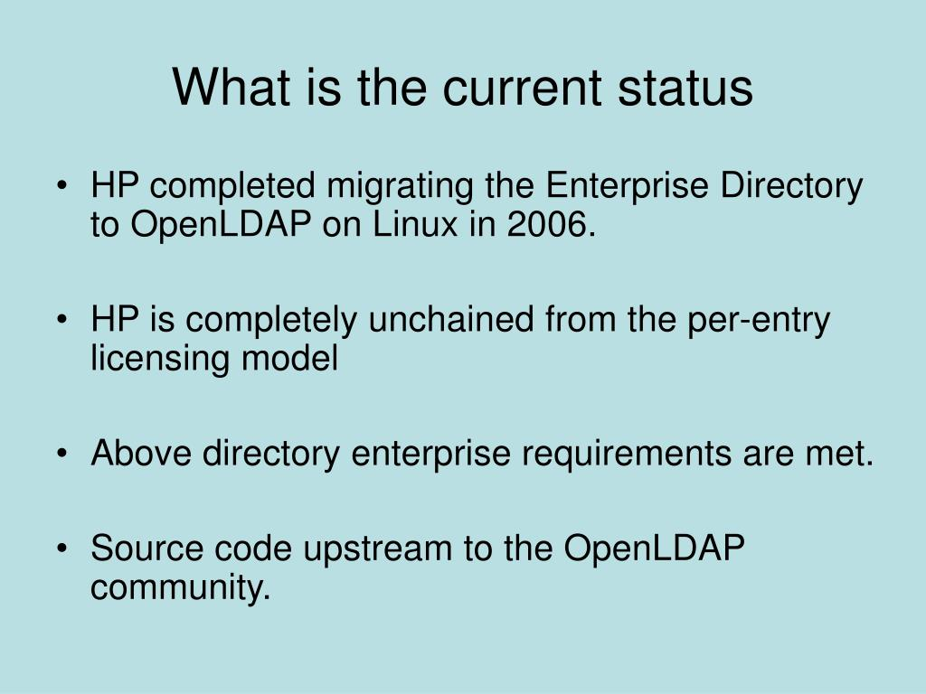 What is the current status