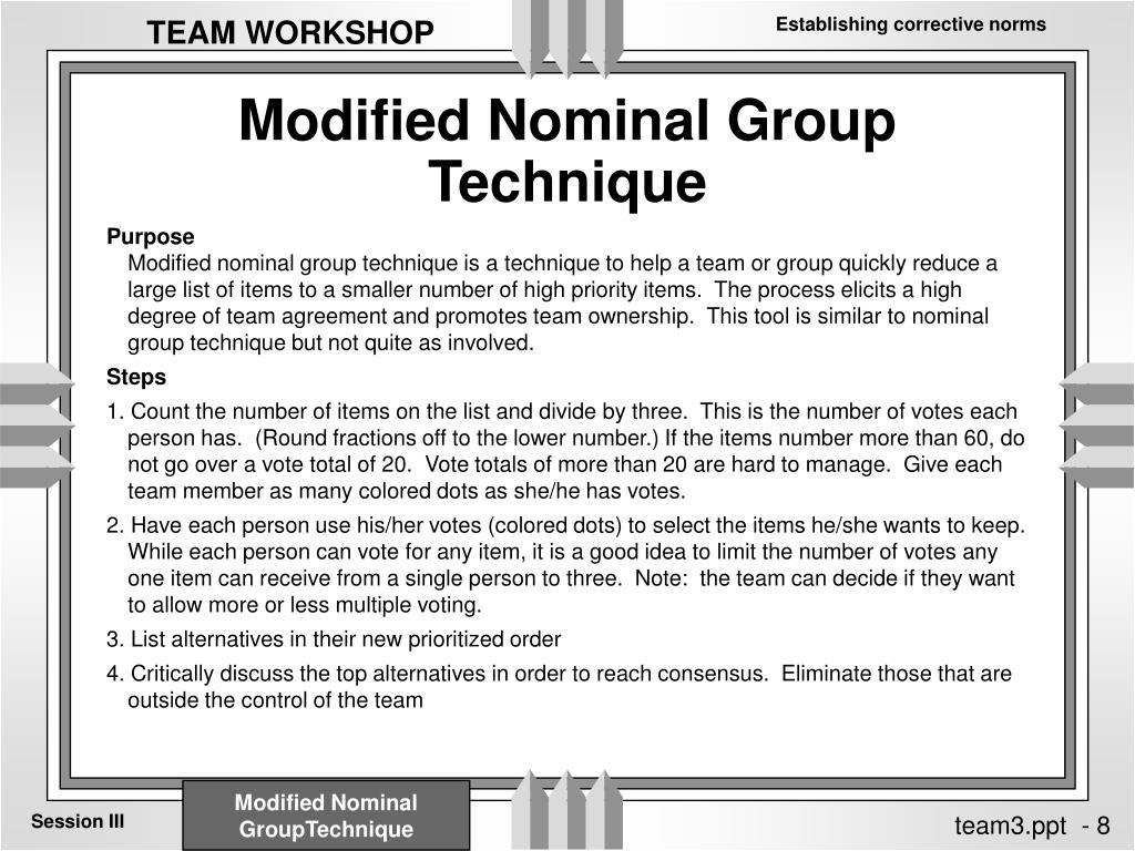 Modified Nominal Group Technique