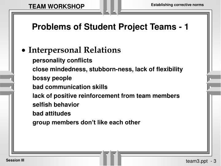 Problems of student project teams 1