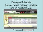 example schedule lots of detail mileage partner phone numbers etc