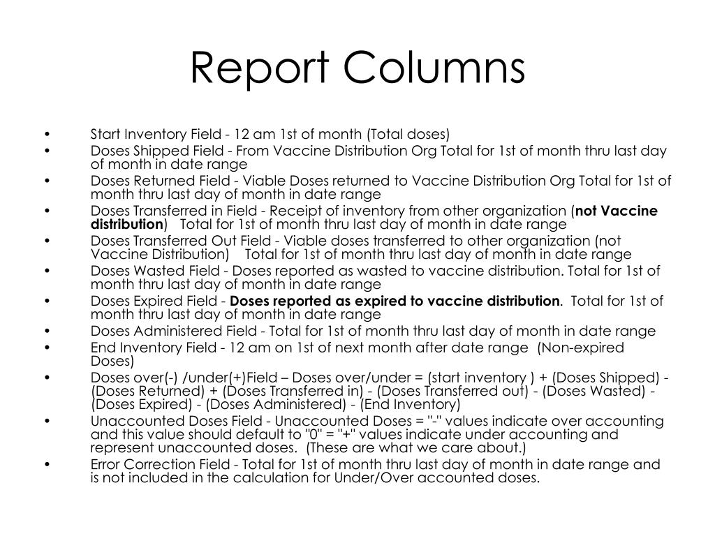 Report Columns