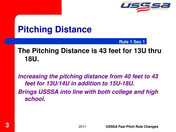 Pitching distance