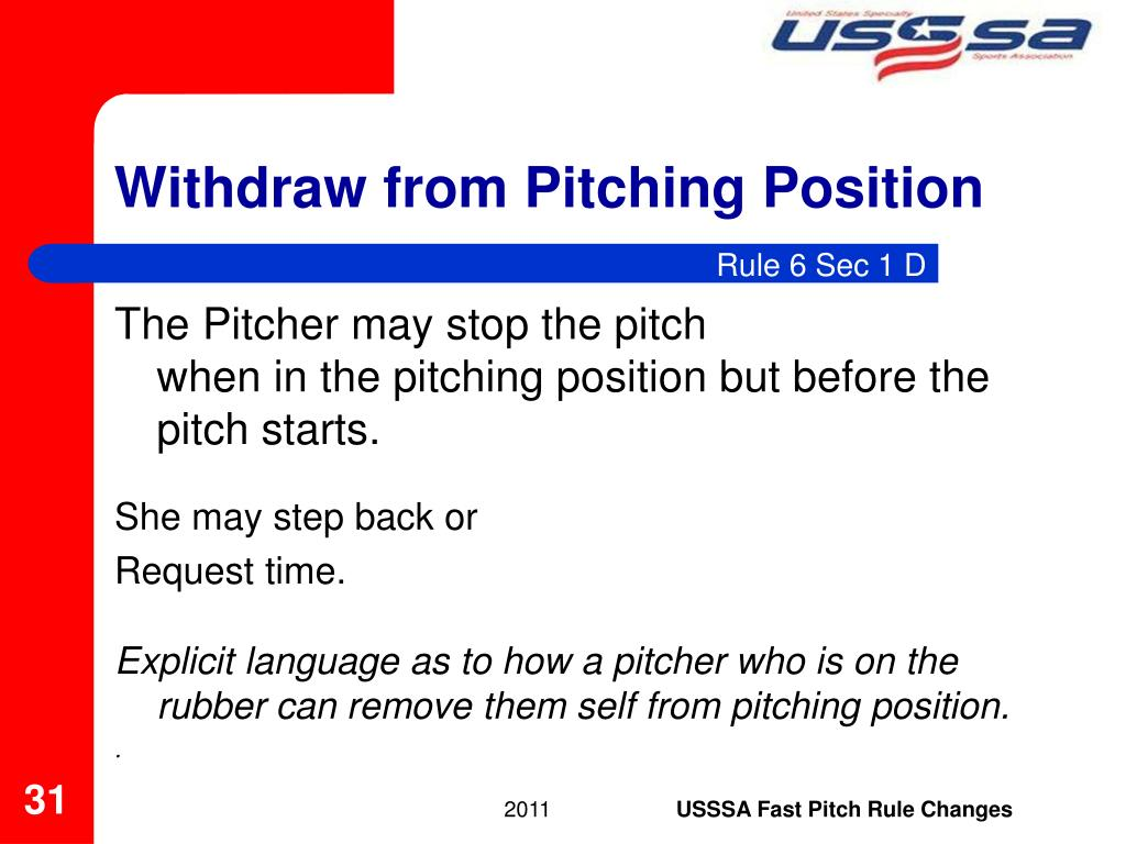 Withdraw from Pitching Position