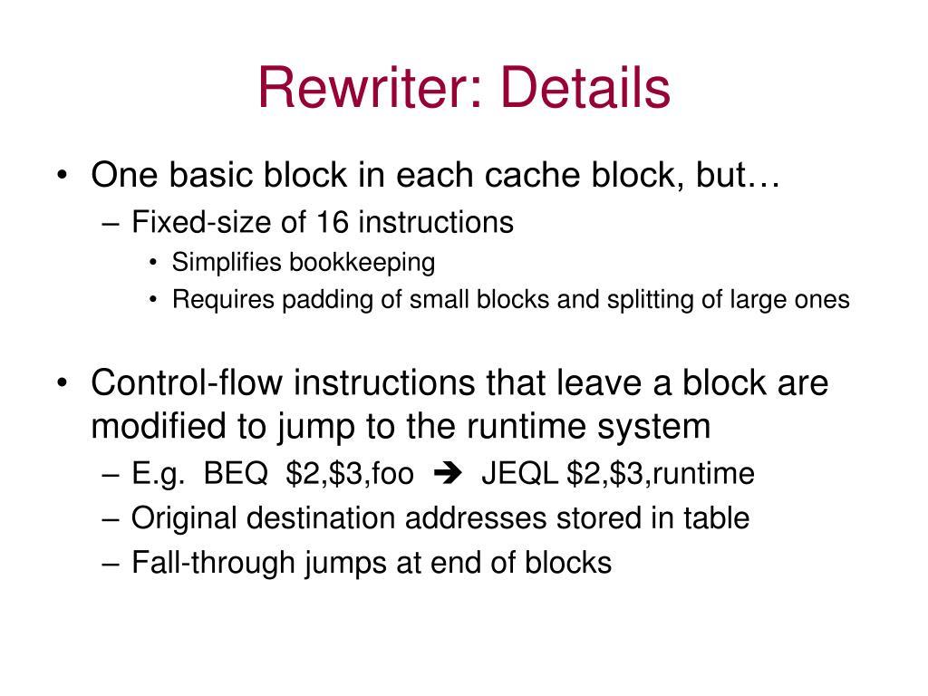 Rewriter: Details