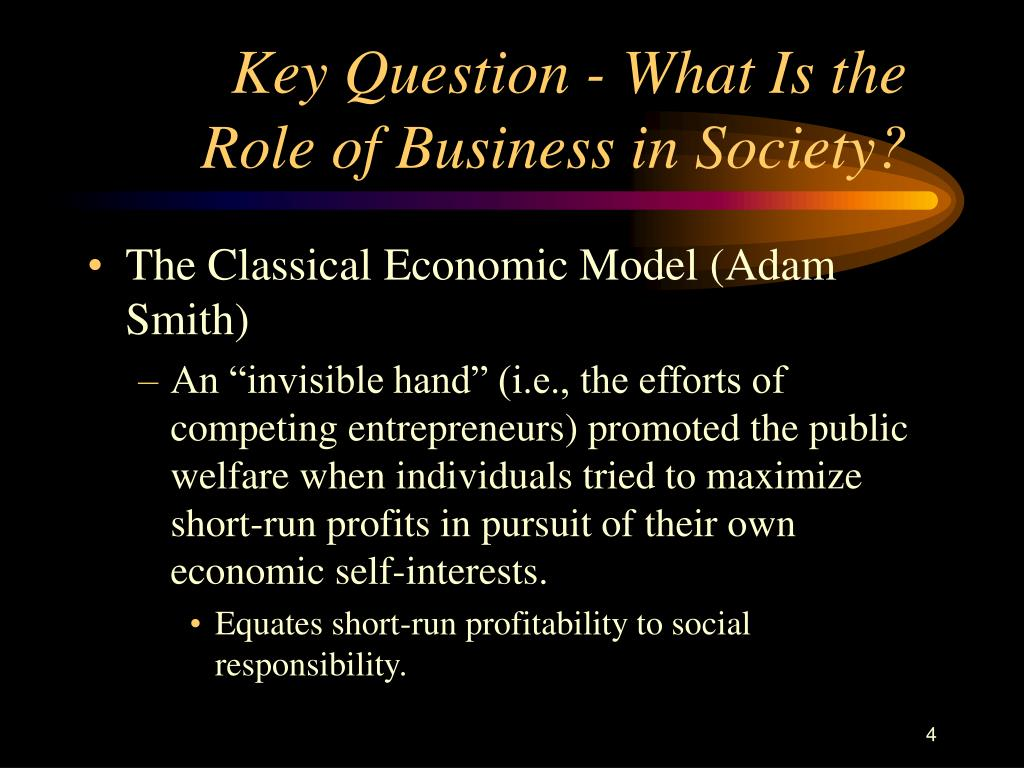 Key Question - What Is the Role of Business in Society?