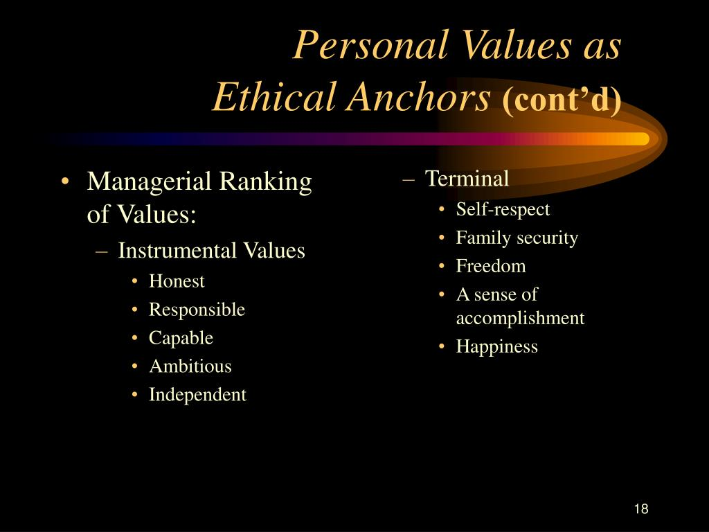 Managerial Ranking of Values: