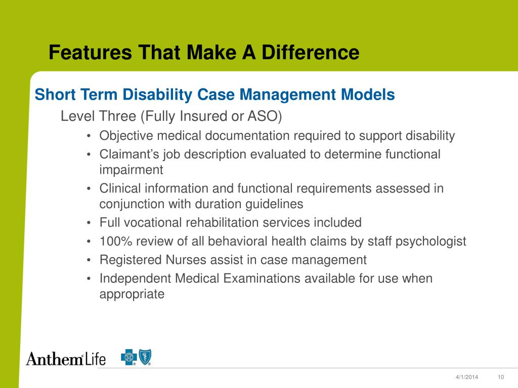 Short Term Disability Case Management Models