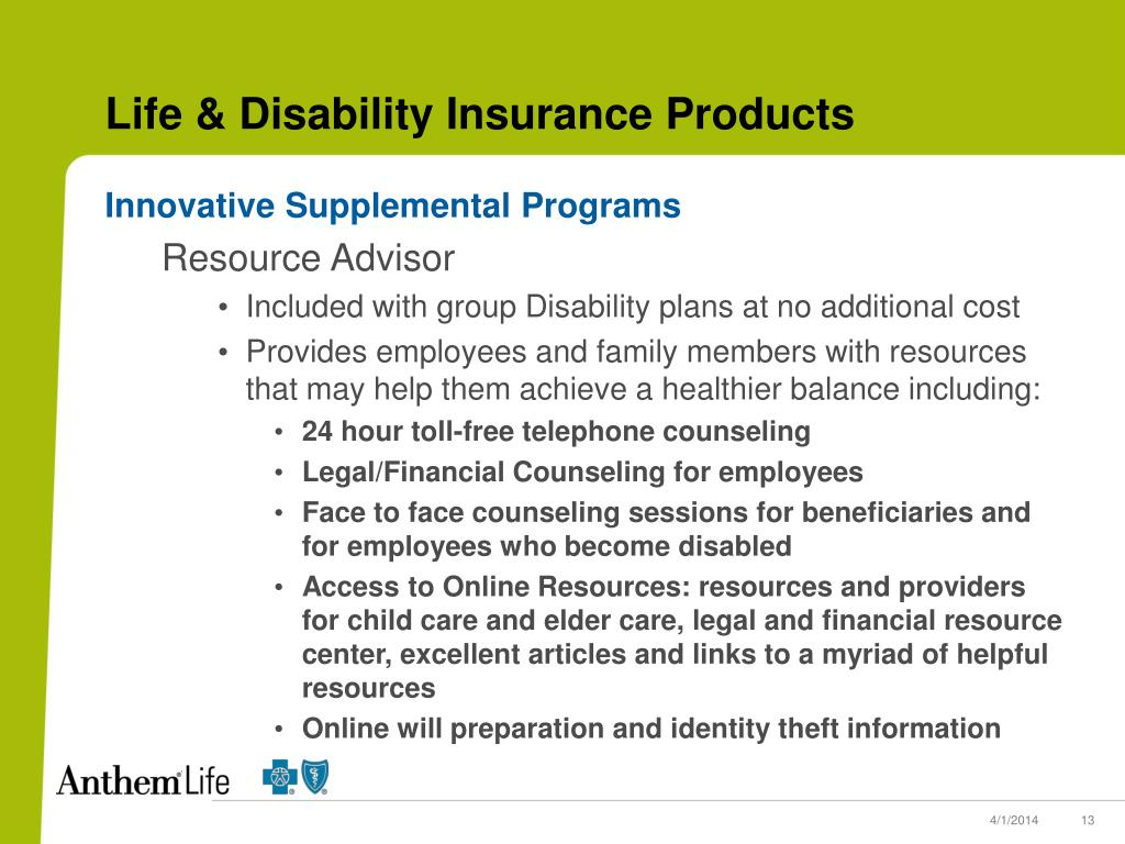 Life & Disability Insurance Products