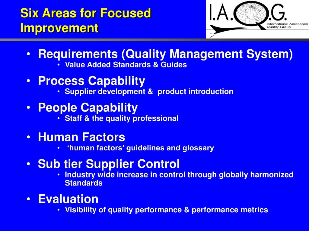 Six Areas for Focused
