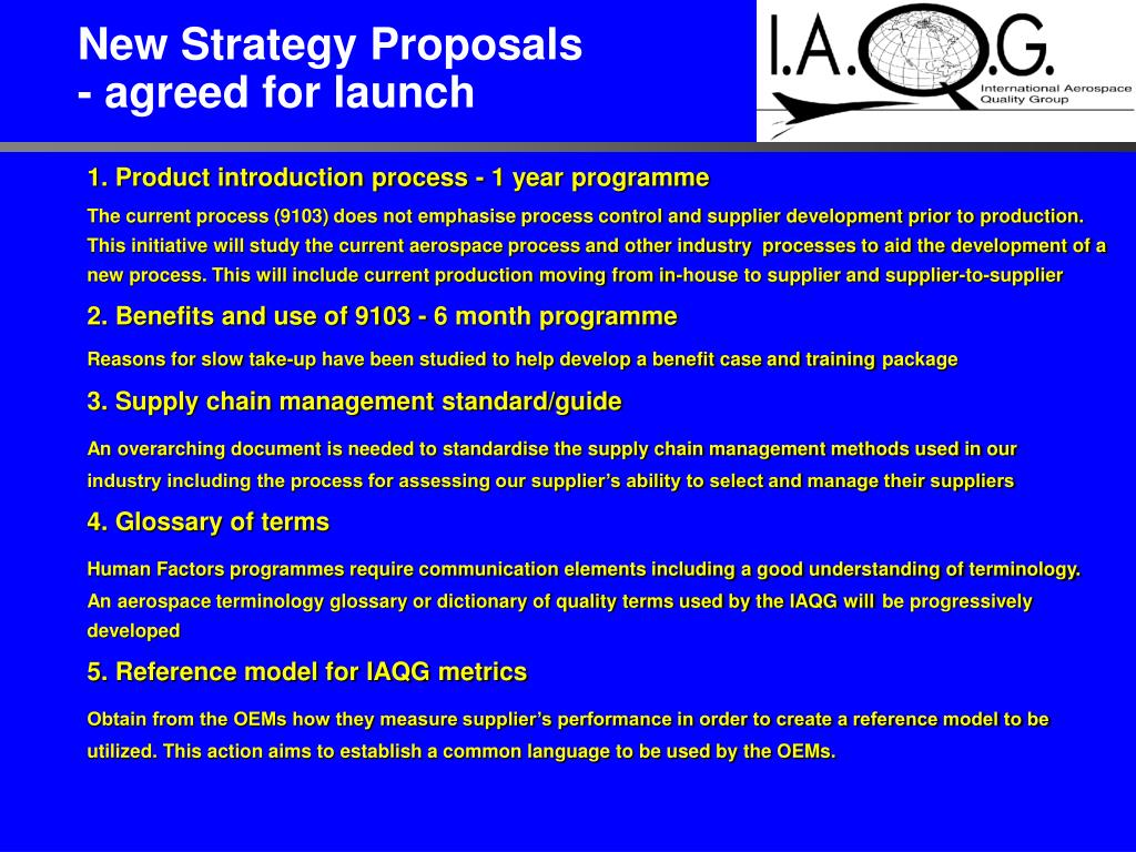 New Strategy Proposals