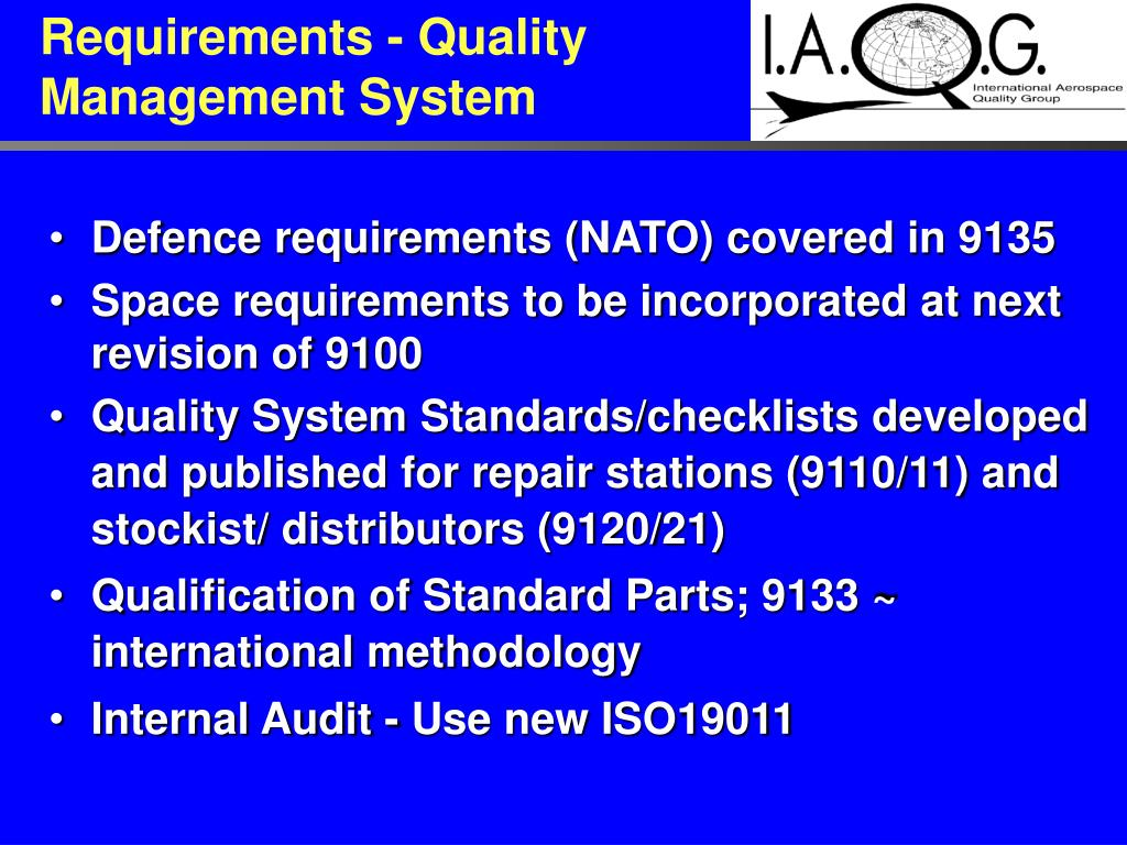 Requirements - Quality Management System