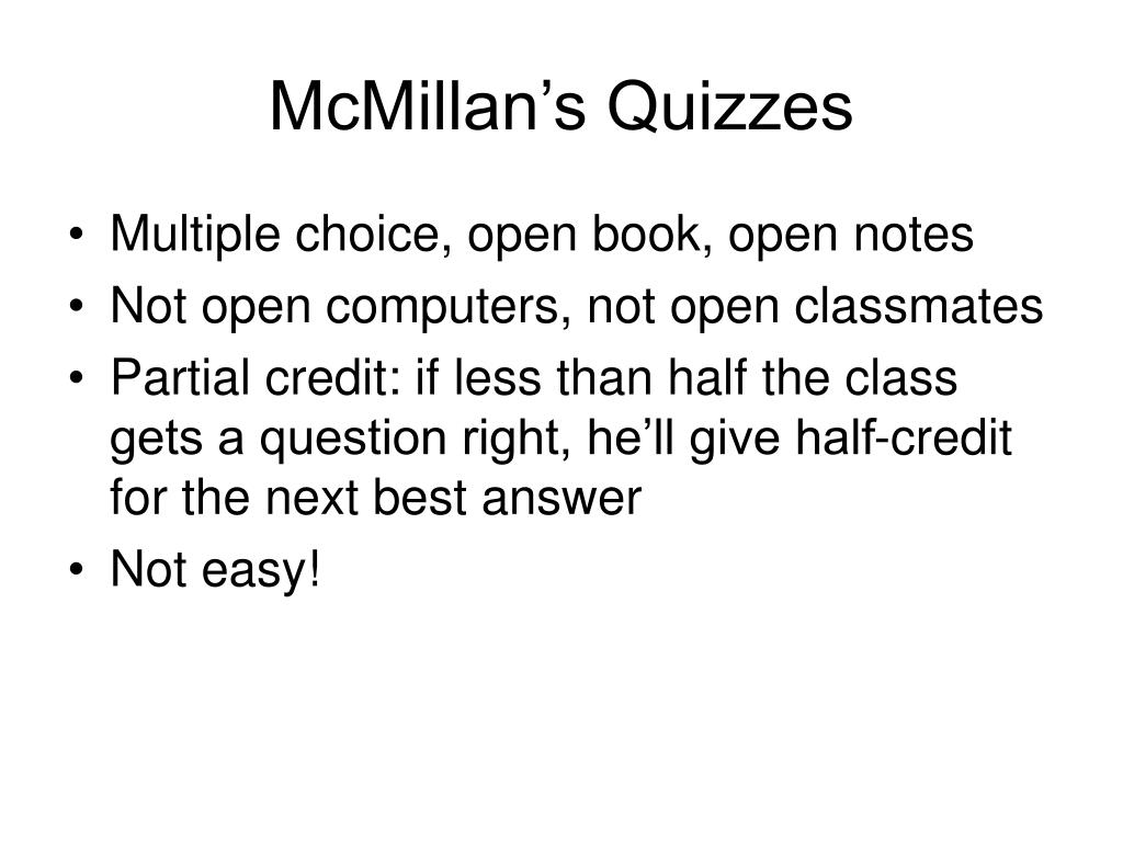 McMillan's Quizzes