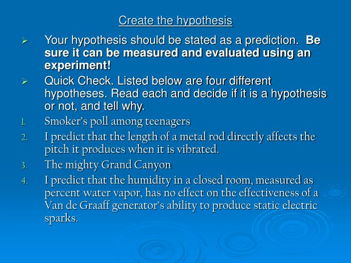 Create the hypothesis
