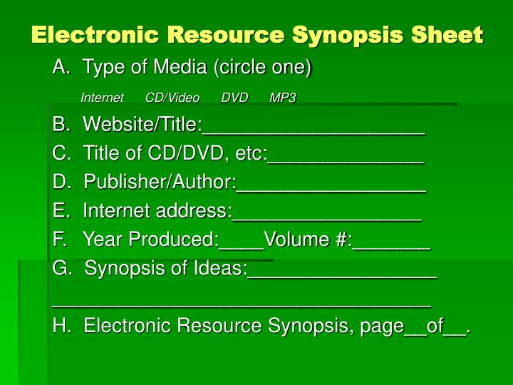 Electronic Resource Synopsis Sheet