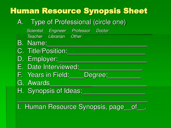 Human Resource Synopsis Sheet