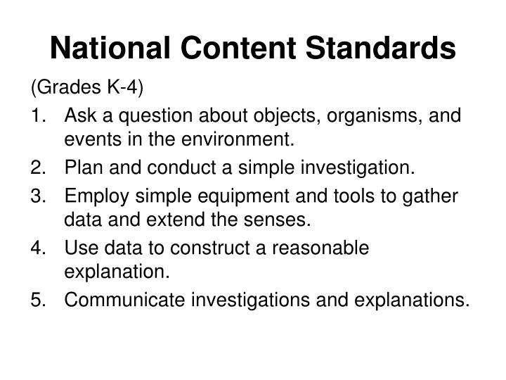 National content standards