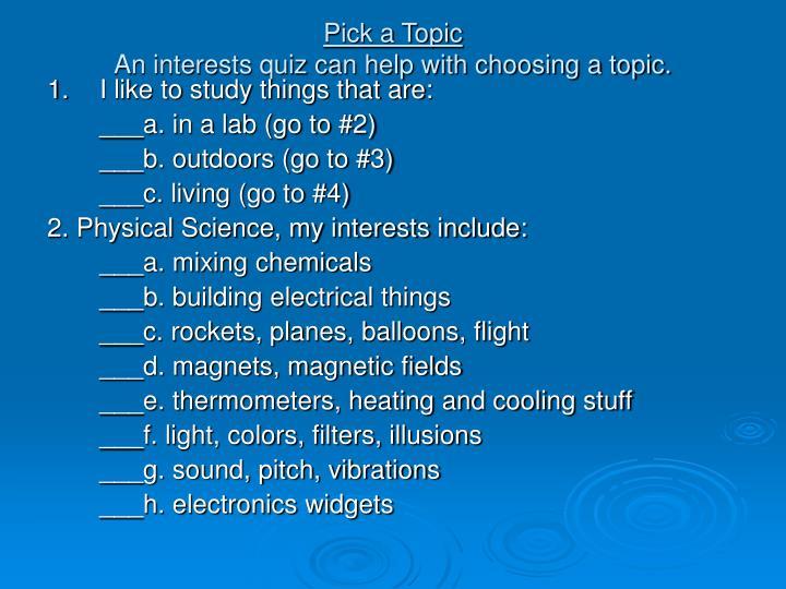 Pick a Topic