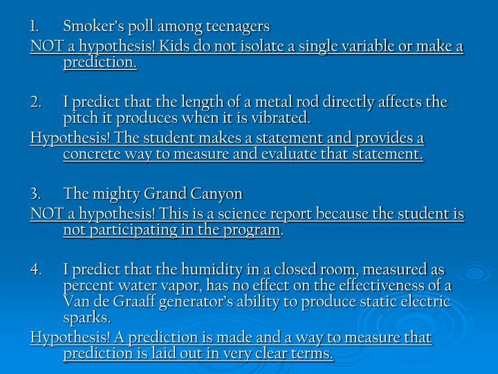 1.Smoker's poll among teenagers