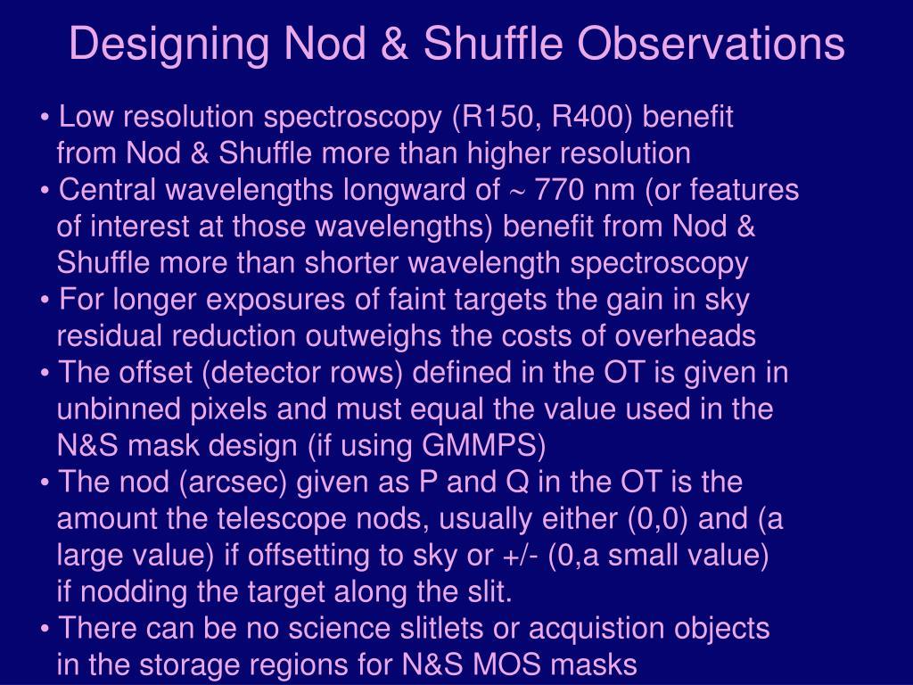 Designing Nod & Shuffle Observations