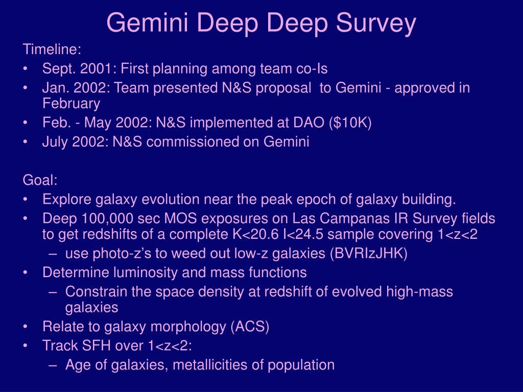Gemini Deep Deep Survey