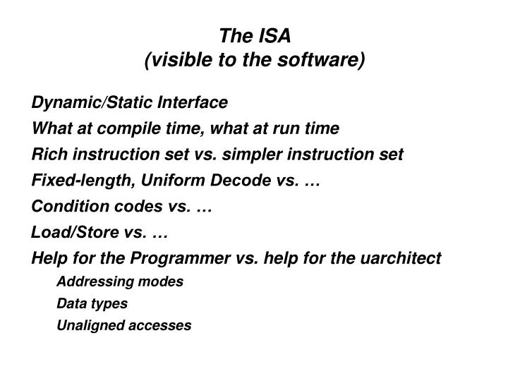 The isa visible to the software