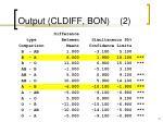 output cldiff bon 2