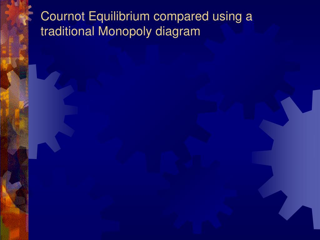Cournot Equilibrium compared using a traditional Monopoly diagram