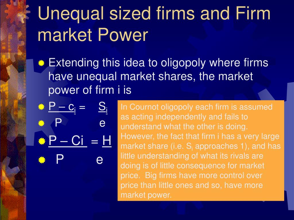 Unequal sized firms and Firm market Power