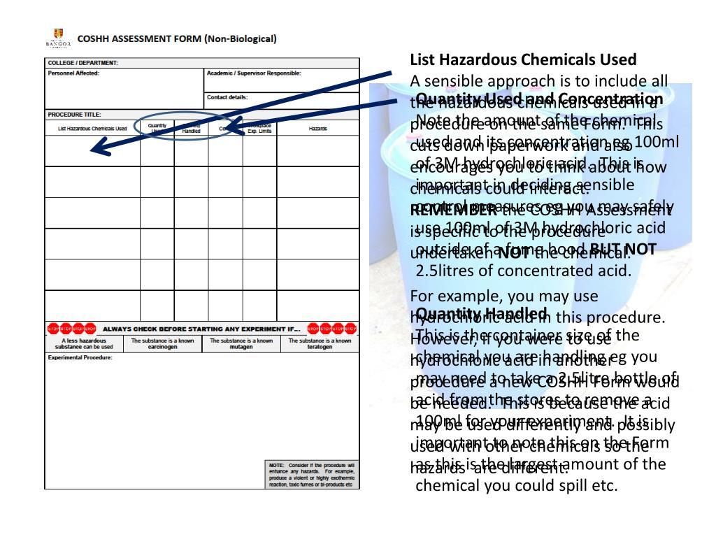 List Hazardous Chemicals Used