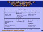 more about progression an example from naep science content